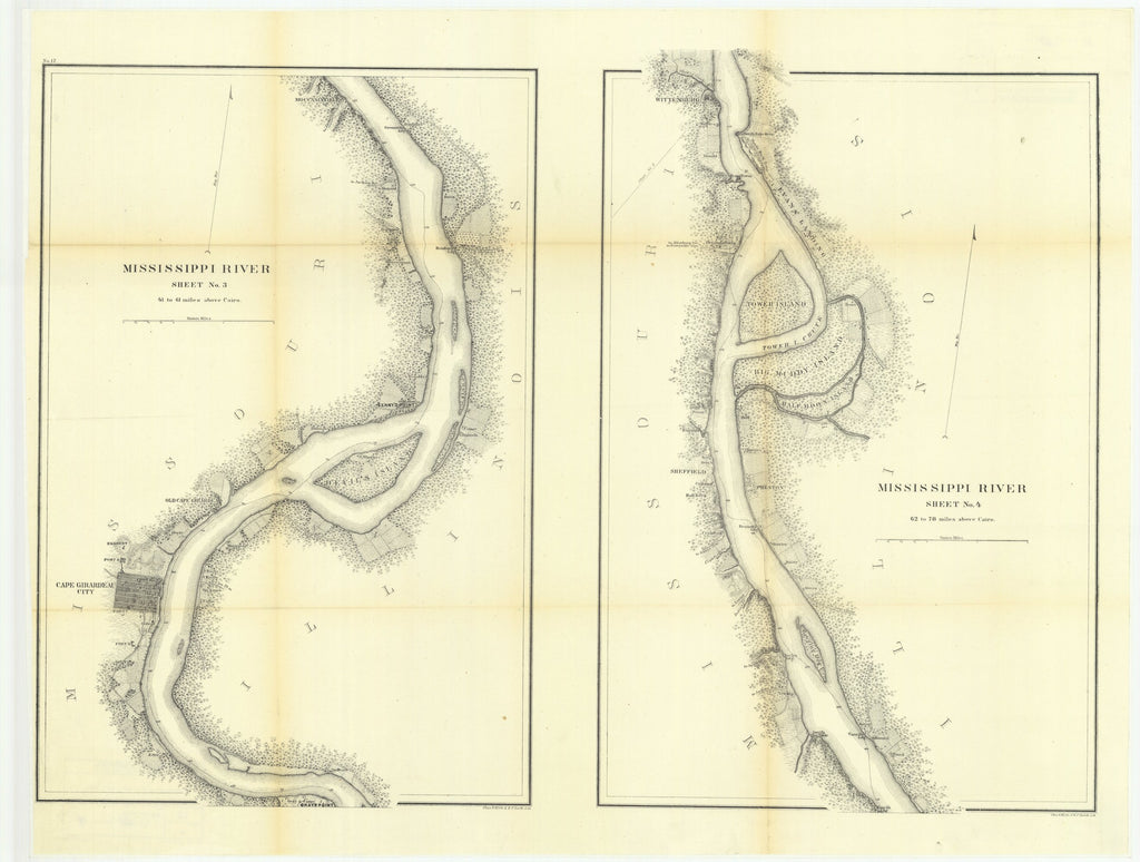18 x 24 inch 1865 US old nautical map drawing chart of Mississippi River, Sheet Number 3 with Mississippi River, Sheet Number 4 From  US Coast & Geodetic Survey x1540
