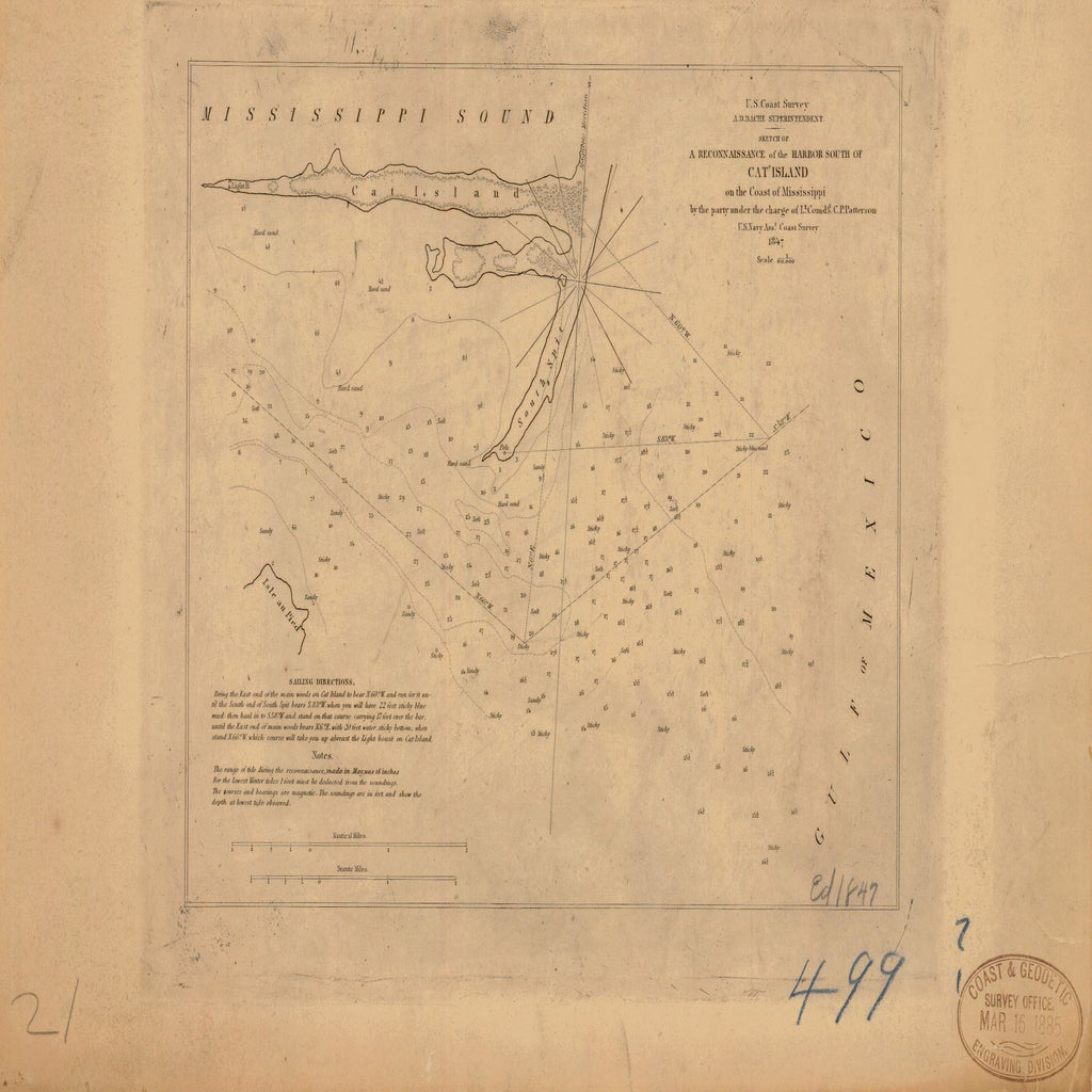 18 x 24 inch 1847 US old nautical map drawing chart of CAT ISLAND ON THE COAST OF MISSISSIPPI From  U.S. Coast Survey x5902