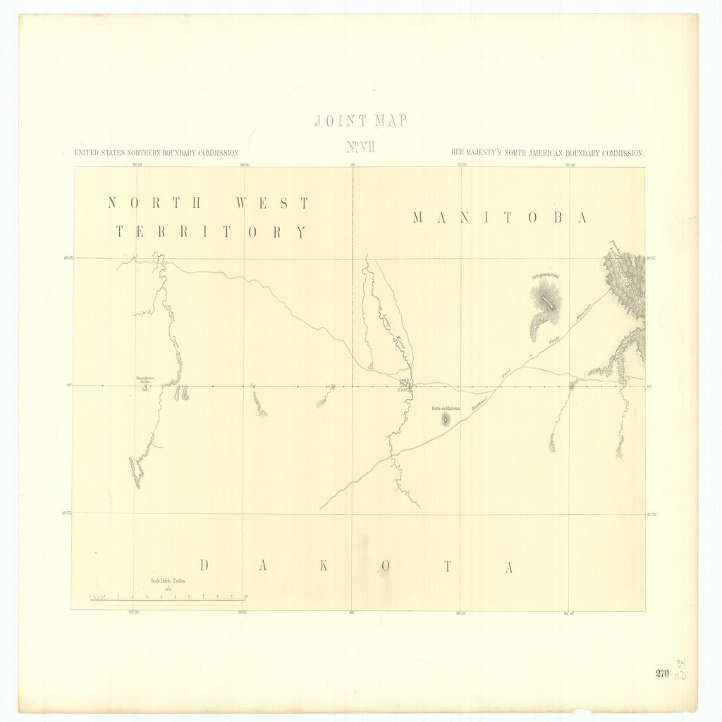 18 x 24 inch 1878 North Dakota old nautical map drawing chart of Joint Maps of the Northern Boundary of the United States from the Lake of the Woods to the Summit of the Rocky Mountains From  NORTH AMERICAN BOUNDARY COMMISSION x6585