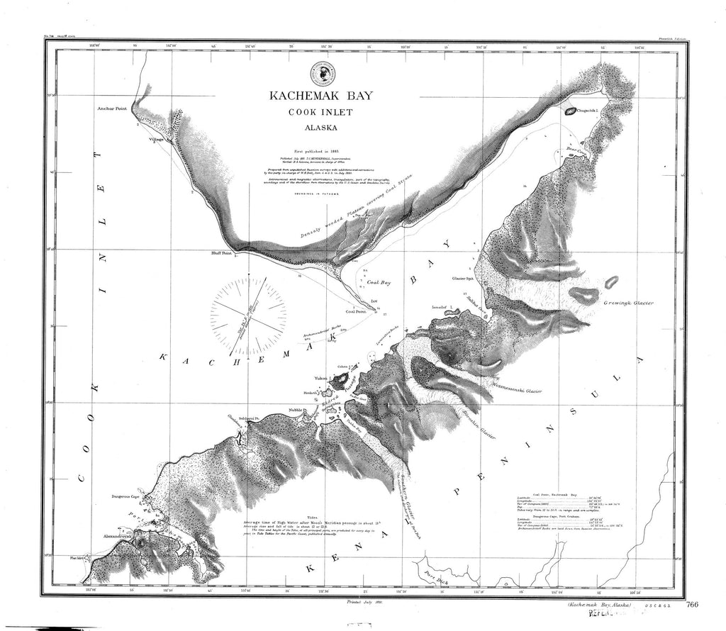 18 x 24 inch 1891 US old nautical map drawing chart of Kachemak Bay From  C&GS x2599