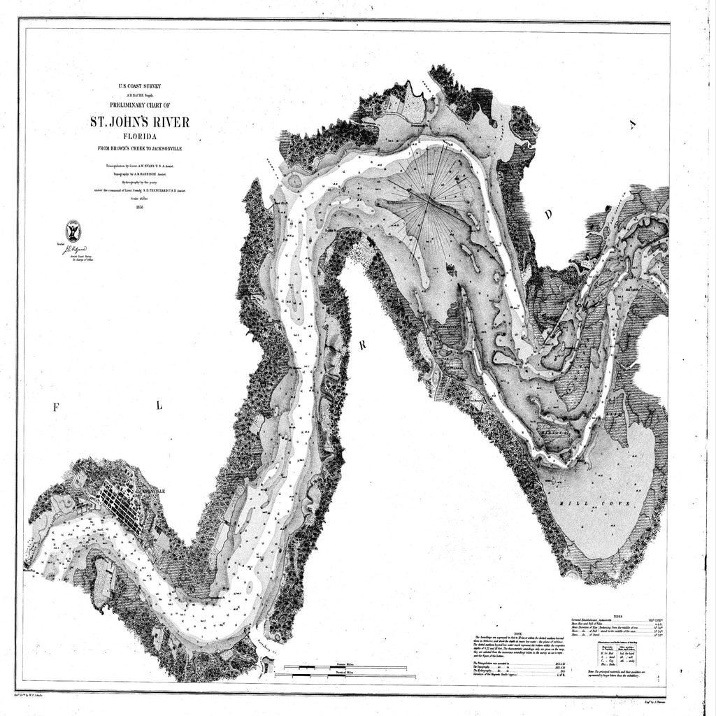 18 x 24 inch 1856 US old nautical map drawing chart of Preliminary Chart of St. Johns River from Brown's Creek to Jacksonville From  U.S. Lake Survey x1321