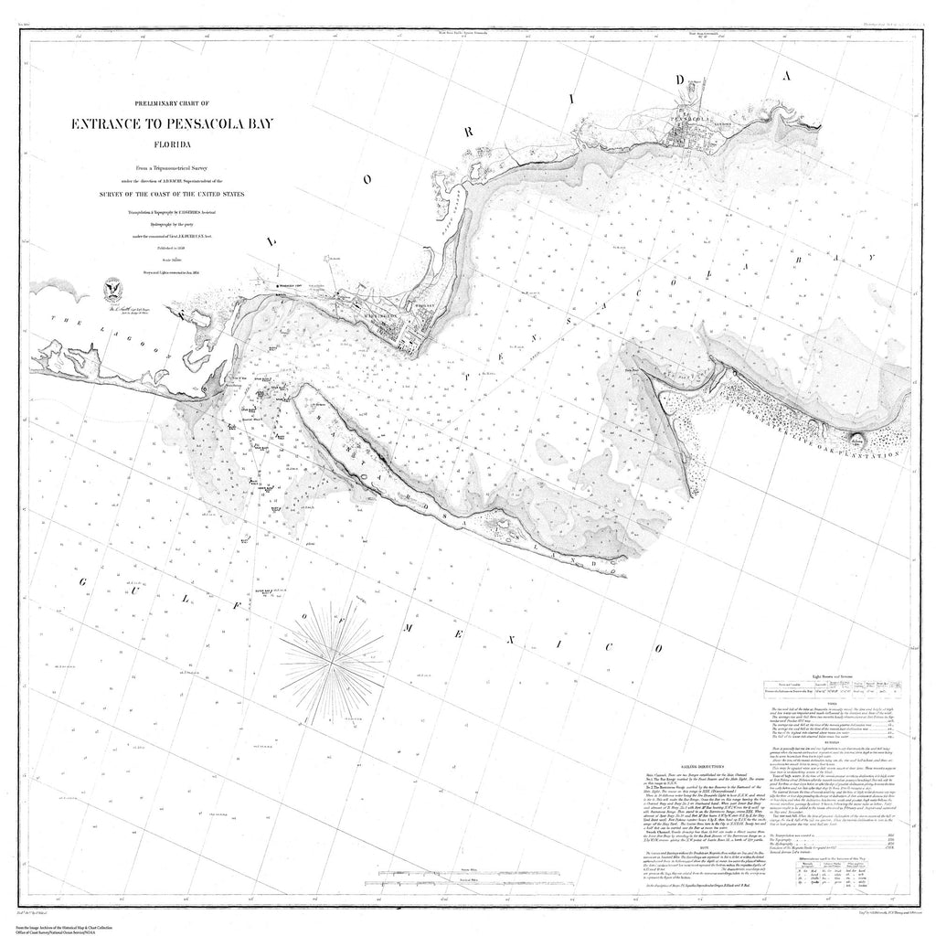 18 x 24 inch 1859 US old nautical map drawing chart of Preliminary Chart of the Entrance to Pensecola Bay From  U.S. Lake Survey x1341
