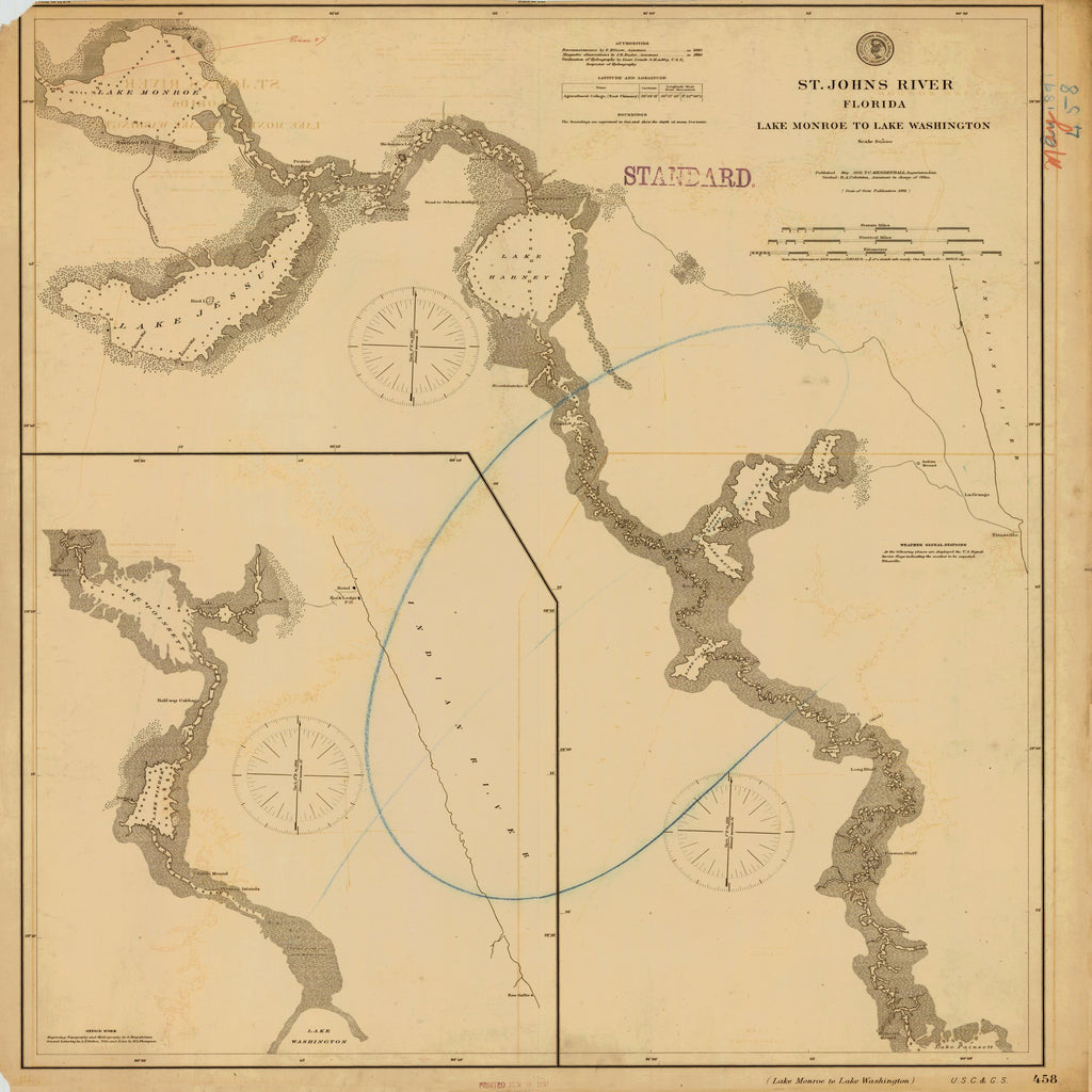 18 x 24 inch 1891 US old nautical map drawing chart of ST. JOHN'S RIVER LAKE MONROE TO LAKE WASHINGTON From  NOAA x2455