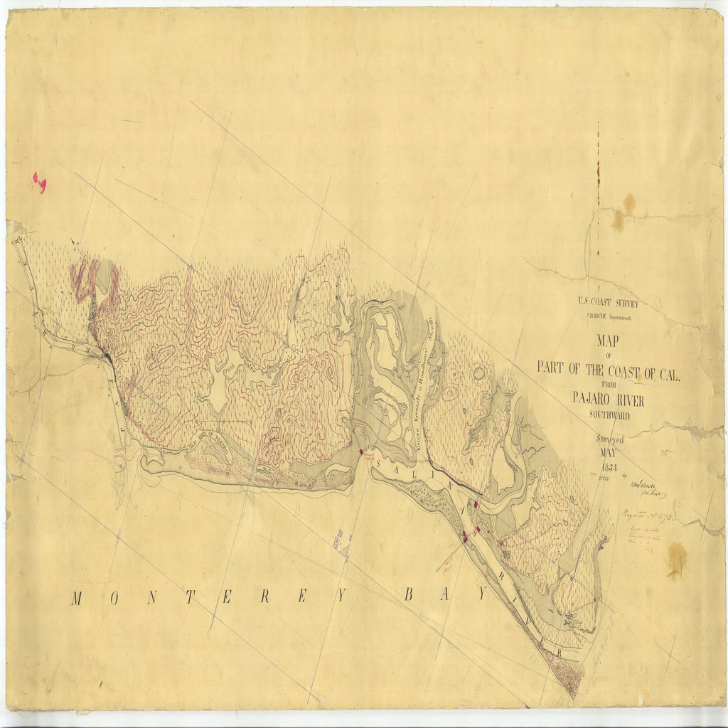 18 x 24 inch 1854 US old nautical map drawing chart of Part of the Coast of Cal. from Pajaro River Southward, California From  U.S. Coast Survey x1650