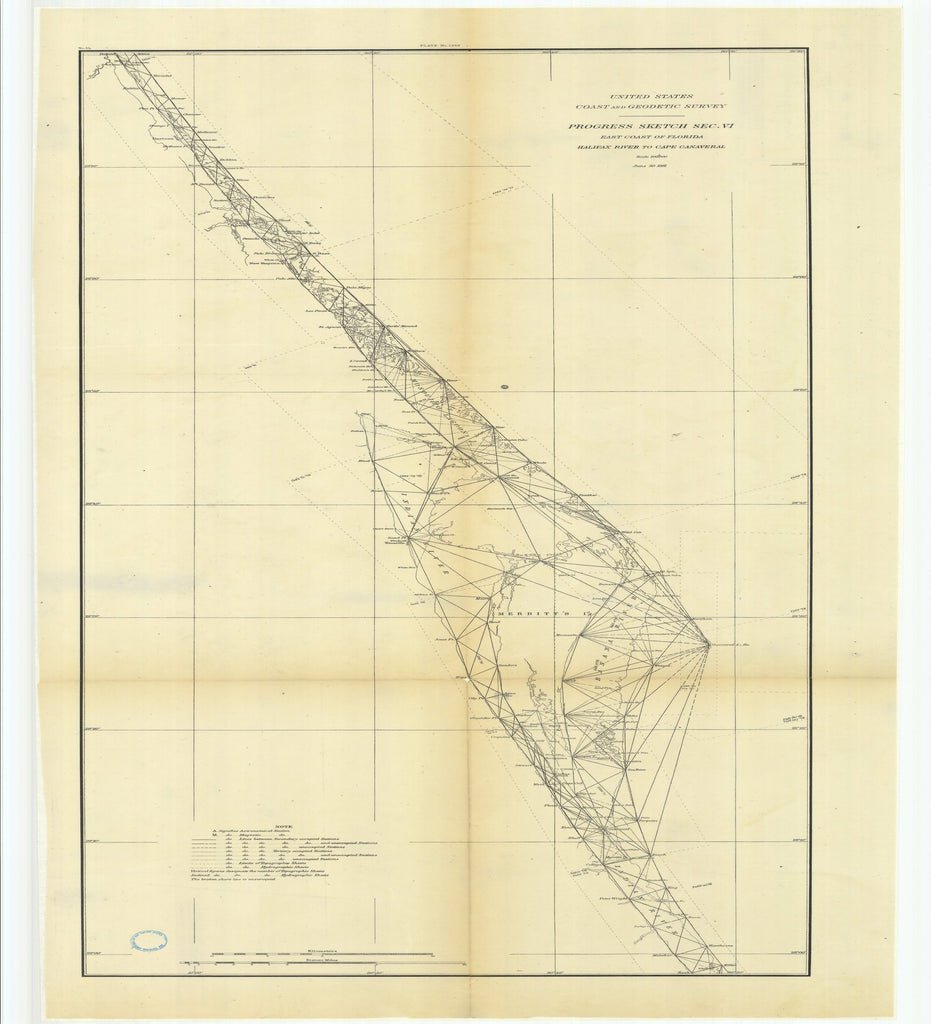18 x 24 inch 1881 US old nautical map drawing chart of Progress Sketch, Section 6, East Coast of Florida, Halifax River to Cape Canaveral From  US Coast & Geodetic Survey x2551