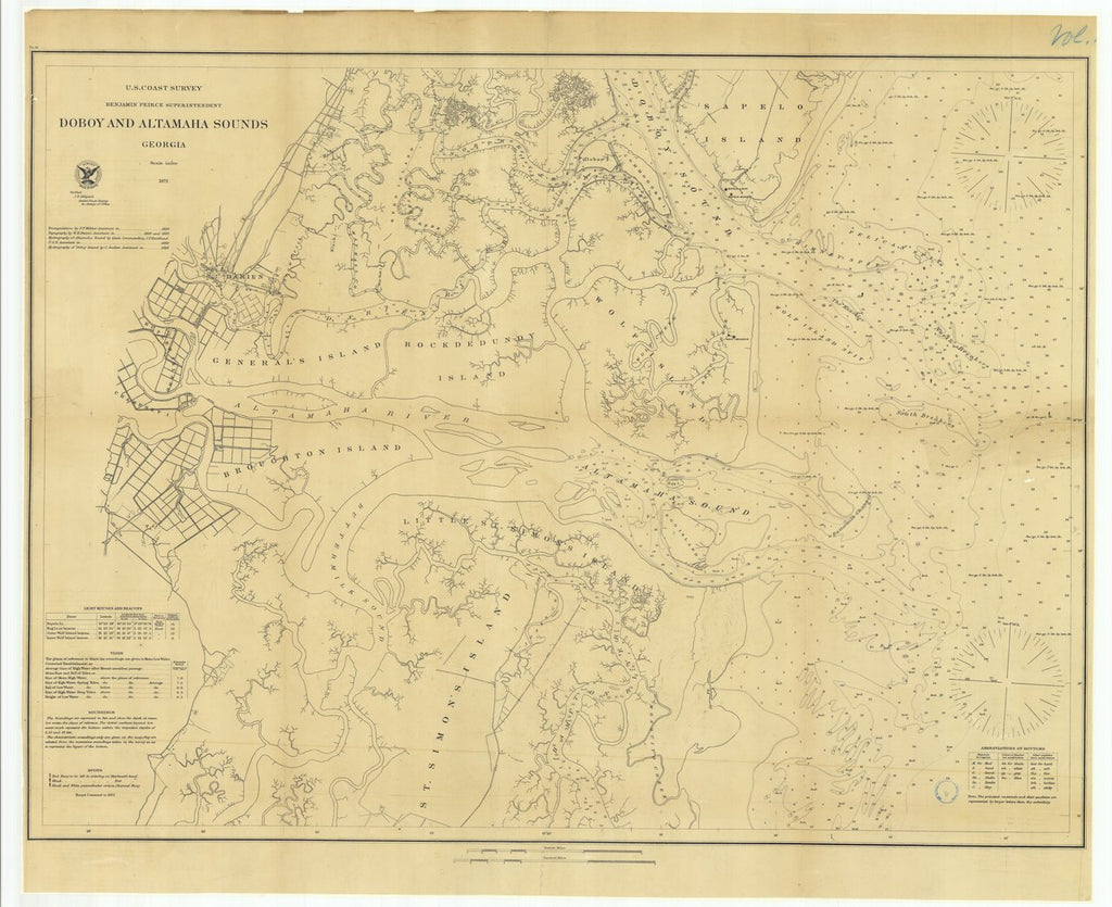 18 x 24 inch 1871 US old nautical map drawing chart of Doboy and Altamaha Sound, Georgia From  U.S. Coast Survey x563