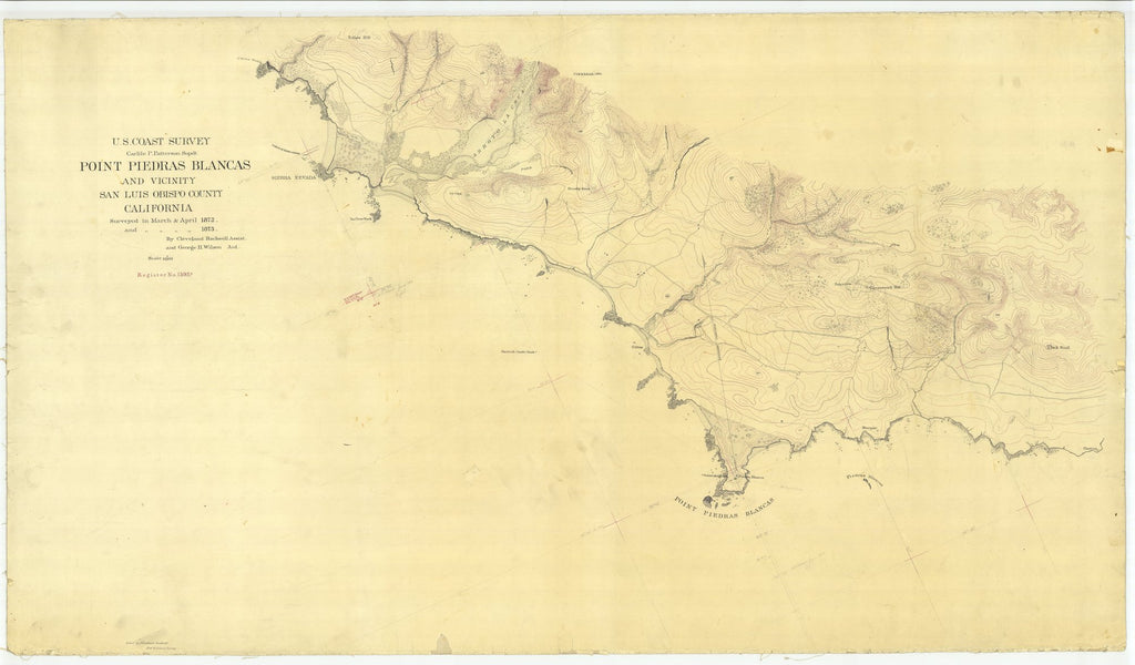 18 x 24 inch 1872 US old nautical map drawing chart of Point Piedras Blancas and Vicinity, California From  U.S. Coast Survey x2058