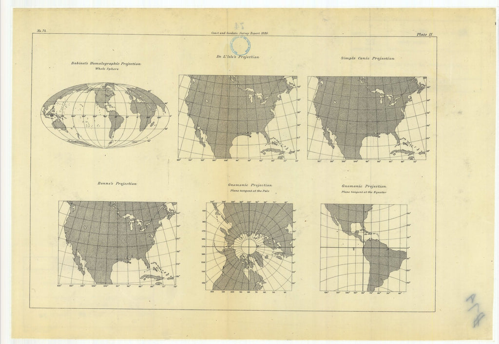 18 x 24 inch 1880 US old nautical map drawing chart of Habinet's Homalographic Projection with De L'Isle's Projection, Simple Conic Projection, Gnomonic Projection, Bonne's Projection, From   US Coast & Geodetic Survey x1435