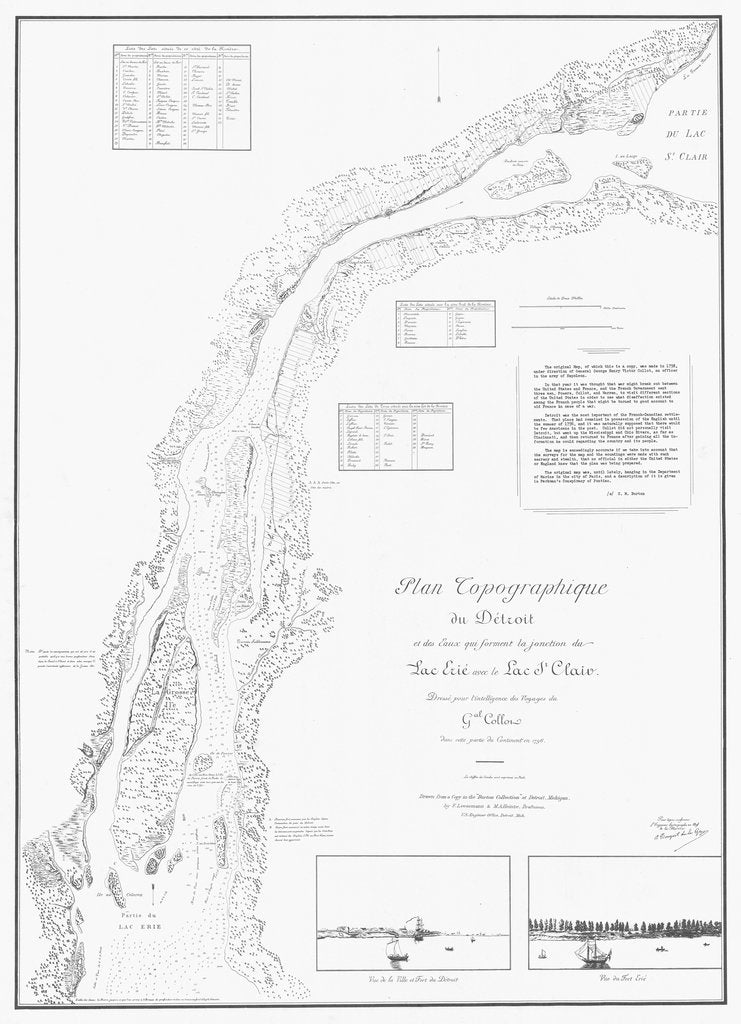 18 x 24 inch 1796 Michigan old nautical map drawing chart of PLAN TOPOGRAPHIQUE AU DETROIT From  NOAA x12220