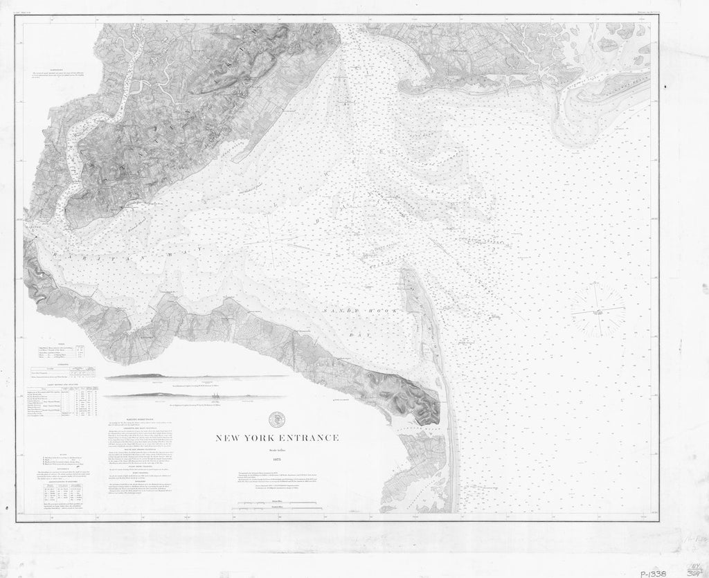 18 x 24 inch 1875 New York old nautical map drawing chart of NEW YORK ENTRANCE From  U.S. Coast Survey x6979