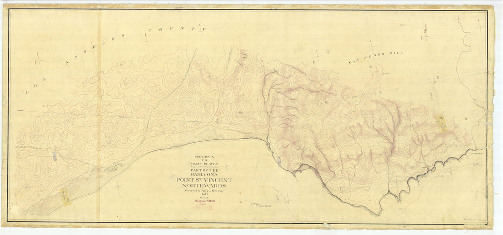 18 x 24 inch 1871 US old nautical map drawing chart of Point St. Vincent Northwards, CA From  U.S. Coast Survey x2055