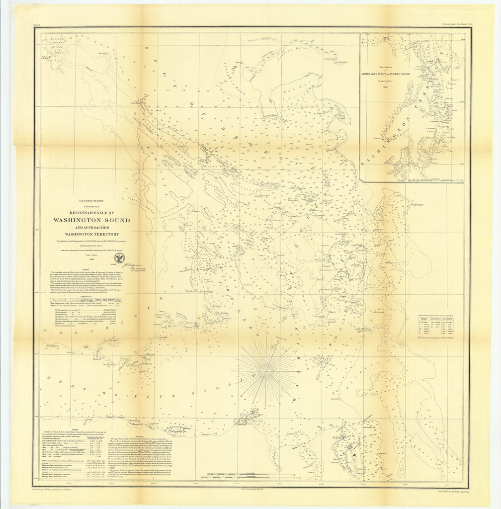 18 x 24 inch 1862 Washington old nautical map drawing chart of Reconnaissance of Washington Sound and Approaches, Washington Territory with Sub Sketch of Admiralty Inlet and Pugets' Sound From  U.S. Coast Survey x11250