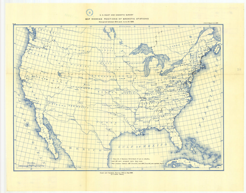 18 x 24 inch 1888 USA old nautical map drawing chart of Map showing positions of magnetic stations occupied between 1844 and 1888 From  US Coast & Geodetic Survey x12123