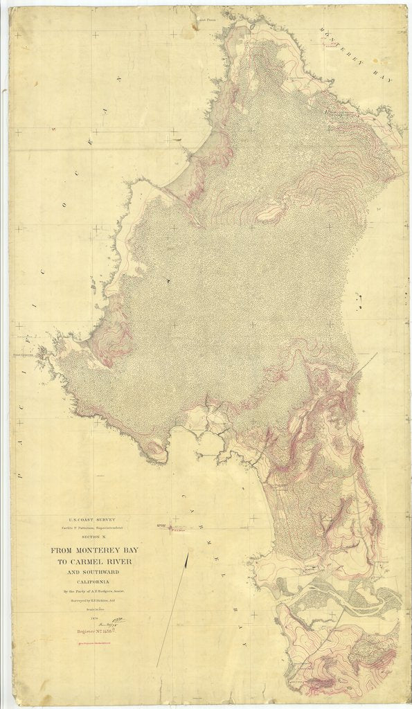18 x 24 inch 1876 US old nautical map drawing chart of From Monterey Bay to Carmel River, California From  U.S. Coast Survey x2411