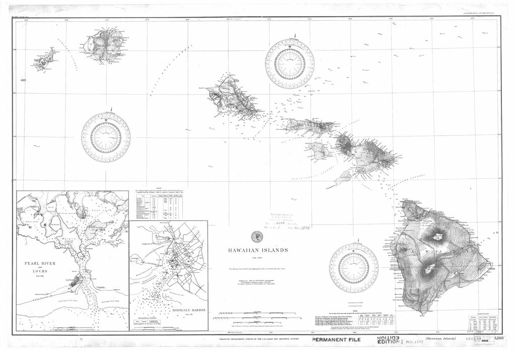 18 x 24 inch 1898 US old nautical map drawing chart of Hawaiian Islands From  US Coast & Geodetic Survey x1207