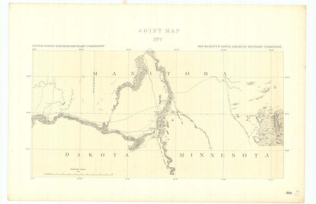 18 x 24 inch 1878 US old nautical map drawing chart of Joint Maps of the Northern Boundary of the United States from the Lake of the Woods to the Summit of the Rocky Mountains From  NORTH AMERICAN BOUNDARY COMMISSION x1798