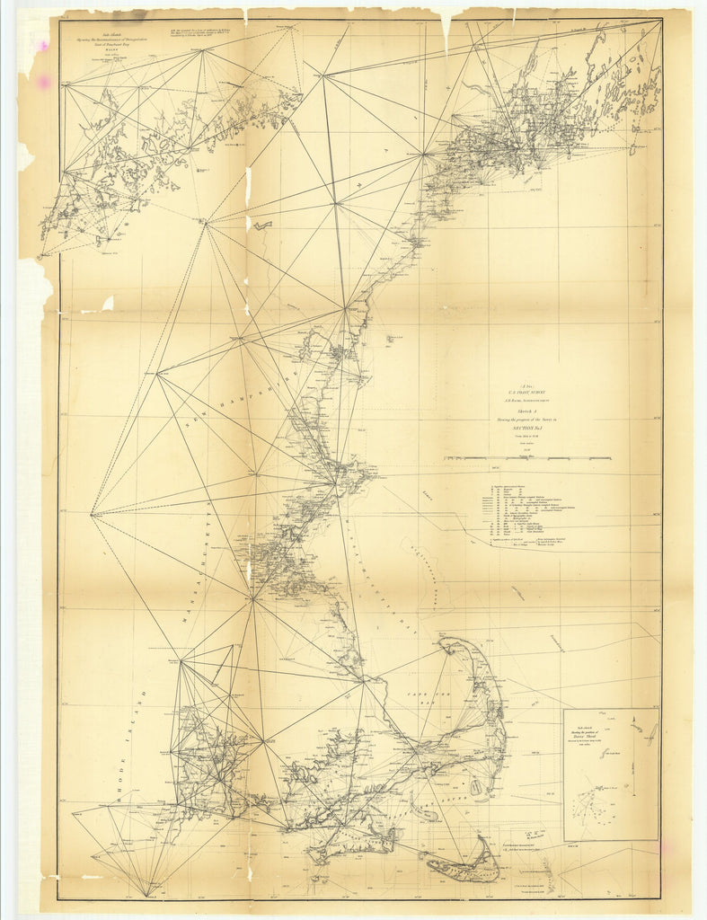 18 x 24 inch 1858 US old nautical map drawing chart of Sketch A Showing the Progress of the Survey in Section Number 1 from 1844 to 1858 and with Sub Sketch Showing the Reconnaissance of Triangulation East of Penobscot BayÉ From  U.S. Coast Survey x5326