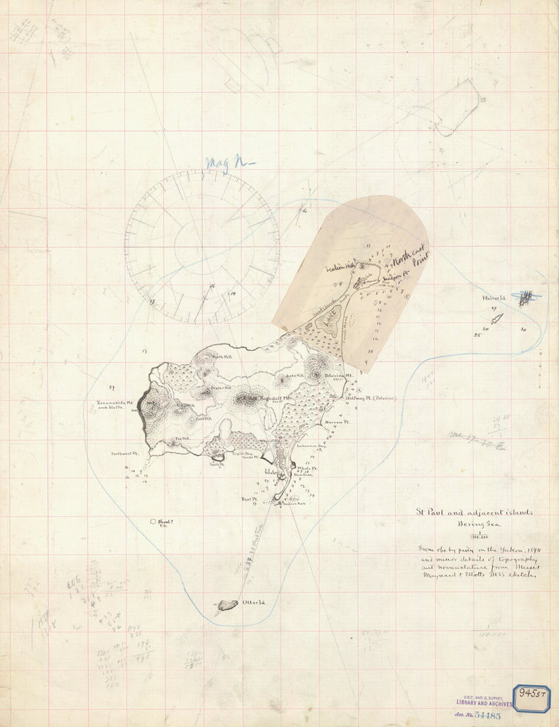 18 x 24 inch 1874 US old nautical map drawing chart of ST PAUL AND ADJACENT ISLANDS BERING SEA From  NOAA x2173