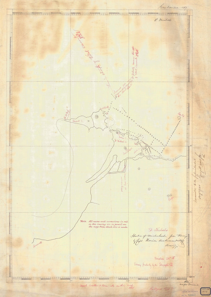 18 x 24 inch 1871 US old nautical map drawing chart of ST MICHAEL From  NOAA x2634