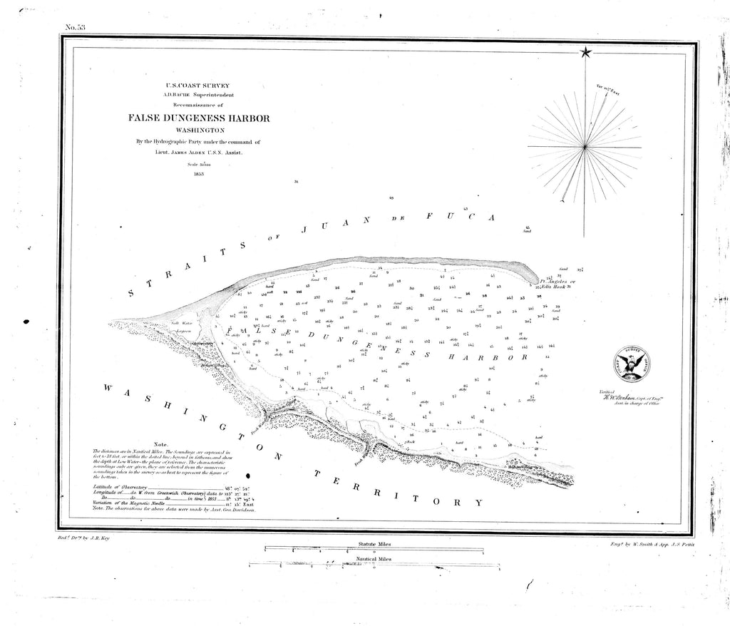 18 x 24 inch 1853 Washington old nautical map drawing chart of Dungeness Harbor From  U.S. Coast Survey x9246