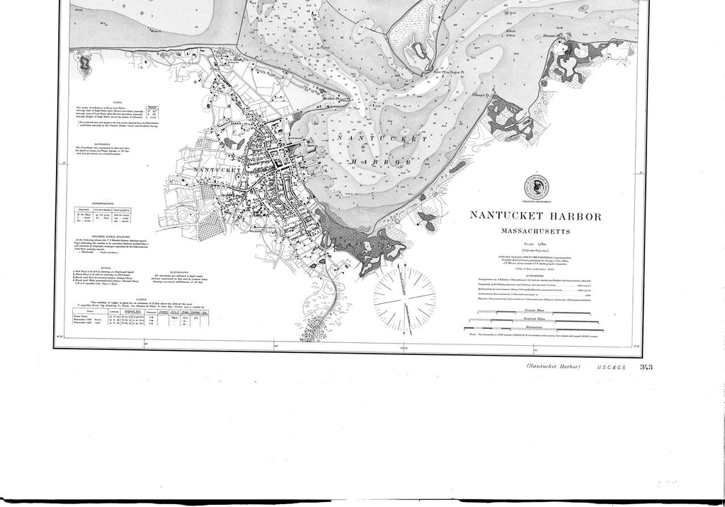 18 x 24 inch 1894 US old nautical map drawing chart of Nantucket Harbor From  US Coast & Geodetic Survey x2247