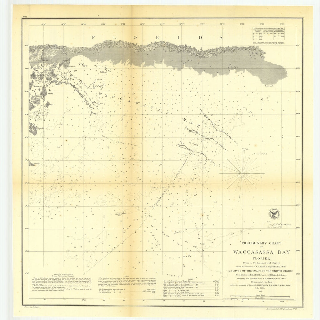 18 x 24 inch 1856 US old nautical map drawing chart of Preliminary Chart of Waccasassa Bay, Florida From  U.S. Coast Survey x1750