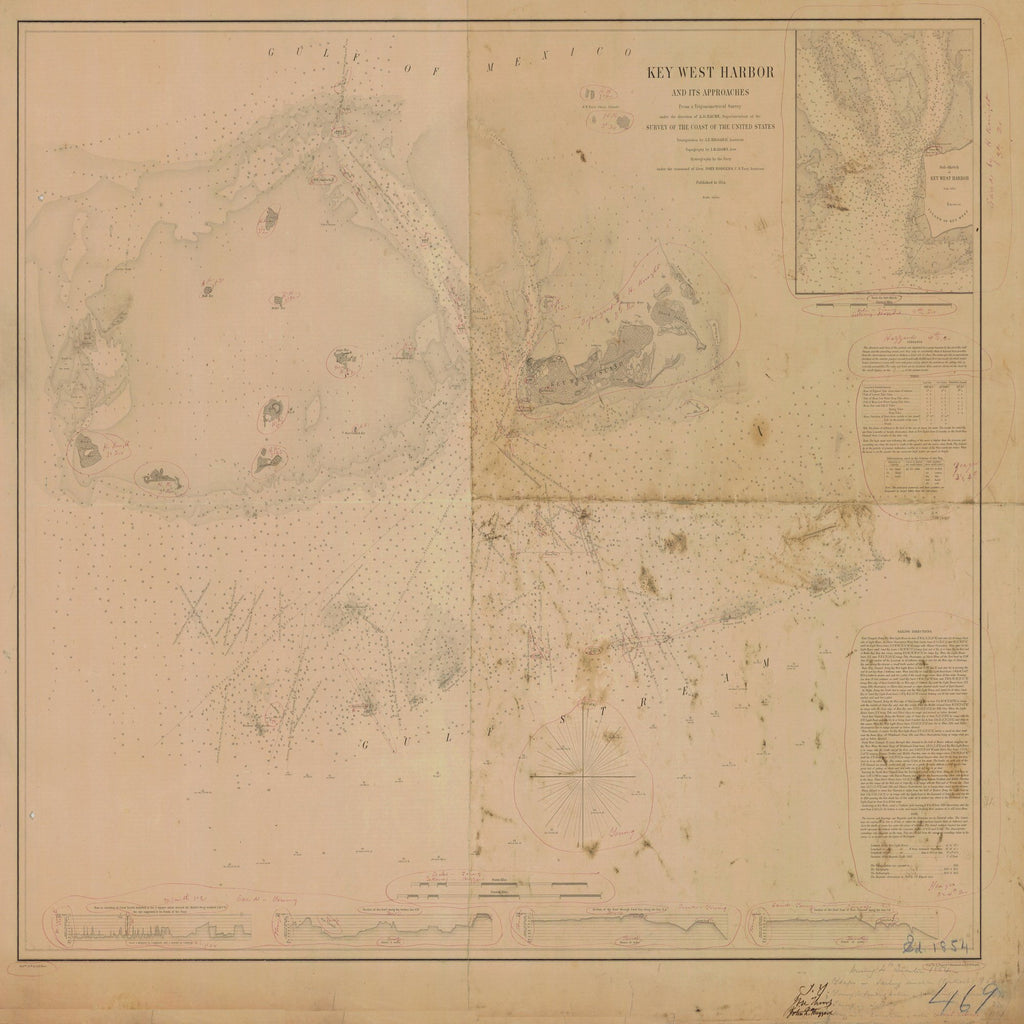 18 x 24 inch 1854 US old nautical map drawing chart of KEY WEST HARBOR AND ITS APPROACHES From  US Coast & Geodetic Survey x1744