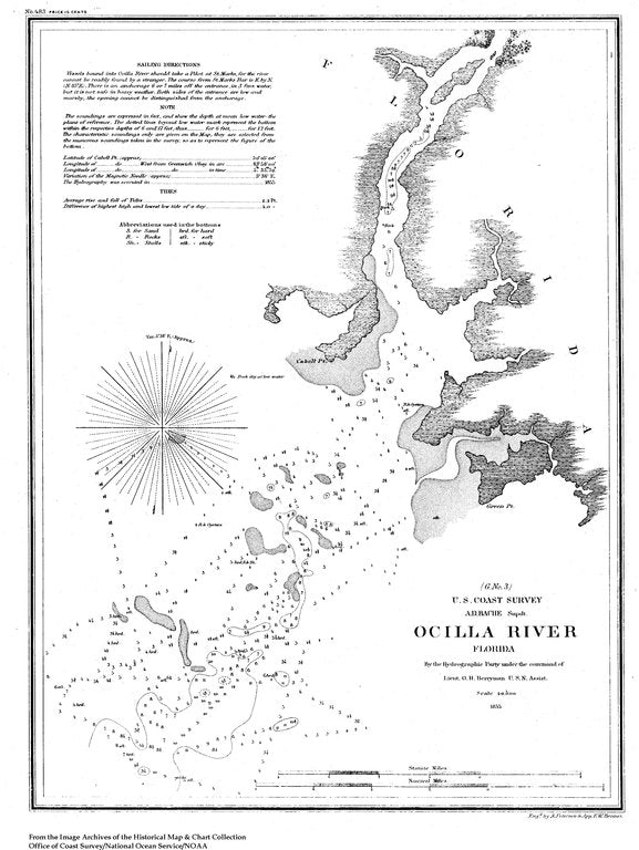 18 x 24 inch 1855 US old nautical map drawing chart of Navigation Chart of Ocilla River, FL From  U.S. Coast Survey x758