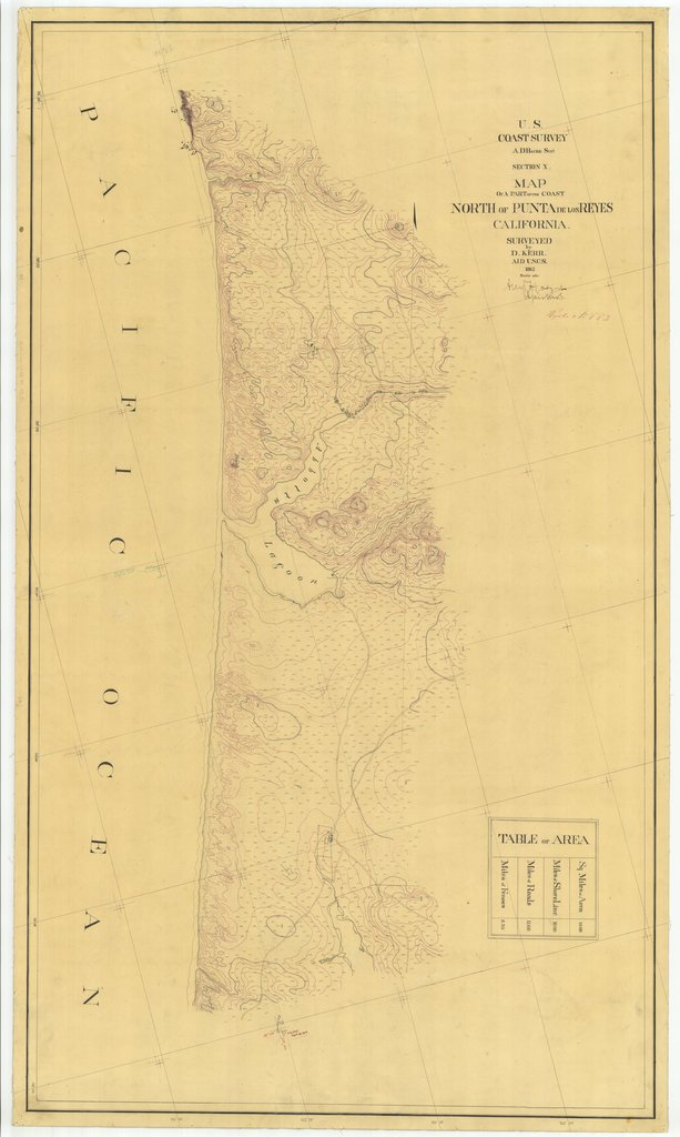 18 x 24 inch 1862 US old nautical map drawing chart of Map of a Part of the Coast North of Punta De Los Reyes From  U.S. Coast Survey x1687