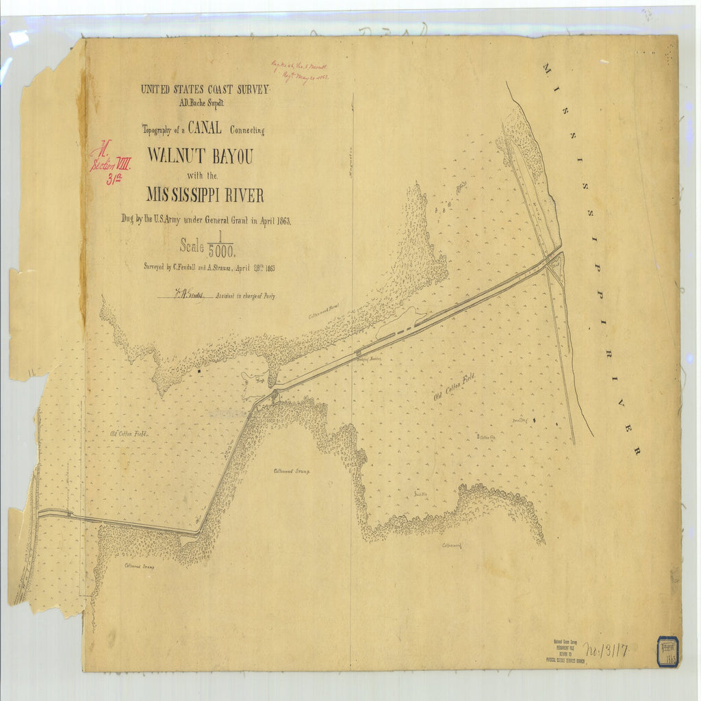 18 x 24 inch 1863 US old nautical map drawing chart of Survey of a Canal Connecting Walnut Bayou with the Mississippi River From  U.S. Coast Survey x1983