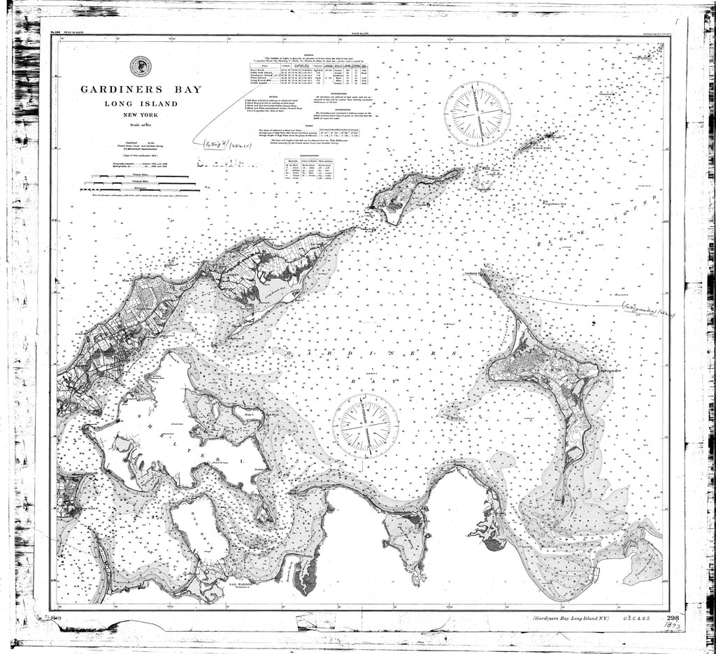 18 x 24 inch 1893 New York old nautical map drawing chart of Gardiner's Bay From  NOAA x6996