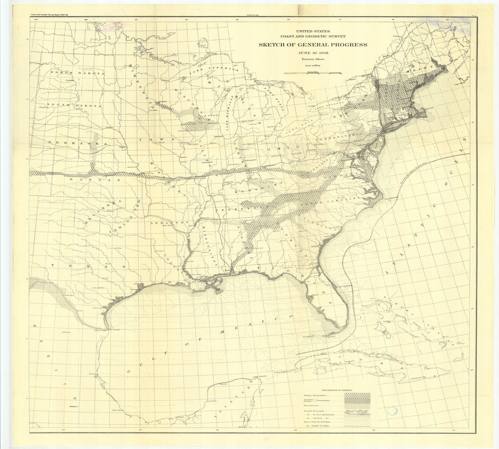 18 x 24 inch 1898 US old nautical map drawing chart of 2. Route line. Geodetic leveling, State line to Hugo, Colo From  US Coast & Geodetic Survey x907