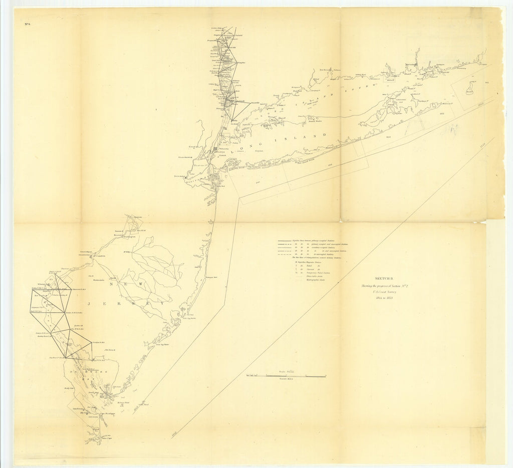 18 x 24 inch 1853 New York old nautical map drawing chart of Sketch B Showing the Progress of Section Number 2 From  U.S. Coast Survey x7720