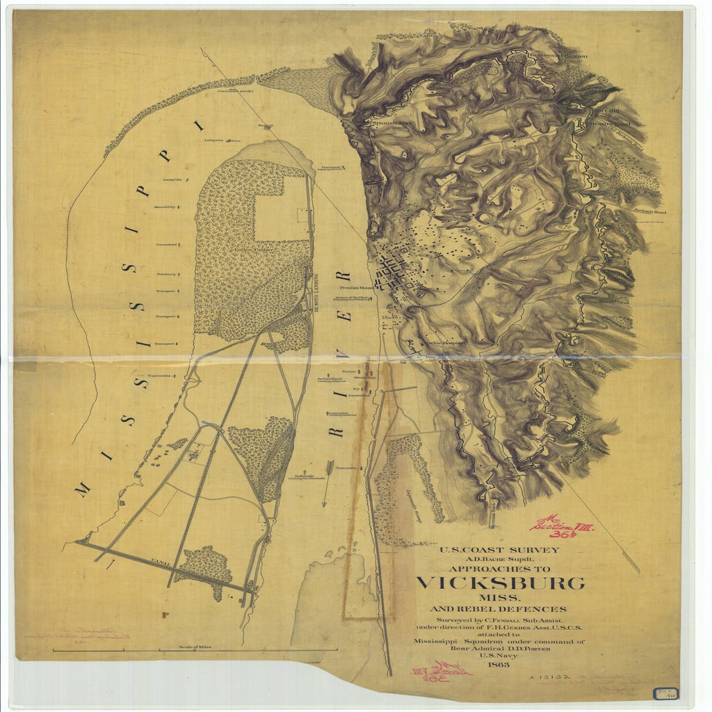 18 x 24 inch 1863 US old nautical map drawing chart of Approaches to Vicksburg Mississippi and Rebel Defences From  U.S. Coast Survey x5379