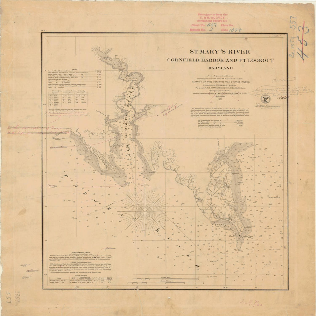 18 x 24 inch 1859 US old nautical map drawing chart of ST MARYS RIVER CORNFIELD HARBOR AND PT LOOKOUT From  U.S. Coast Survey x3582