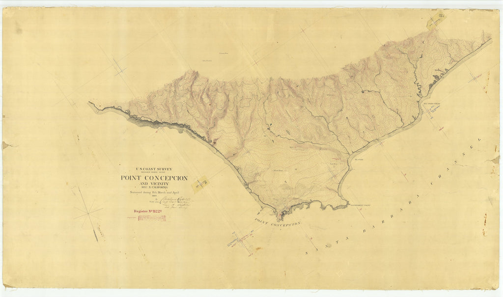 18 x 24 inch 1869 US old nautical map drawing chart of Point Concepcion and Vicinity From  U.S. Coast Survey x1701