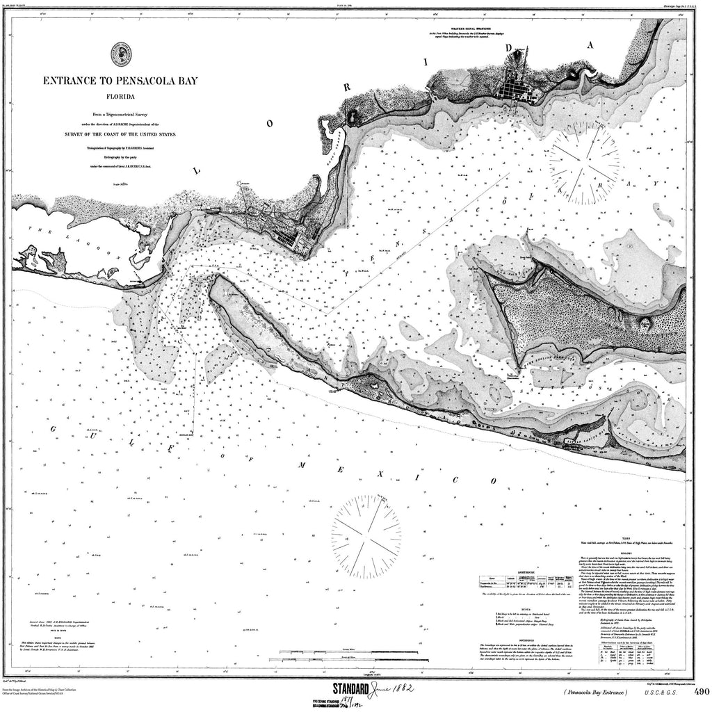 18 x 24 inch 1882 US old nautical map drawing chart of Entrance to Pensacola Bay From  US Coast & Geodetic Survey x1347