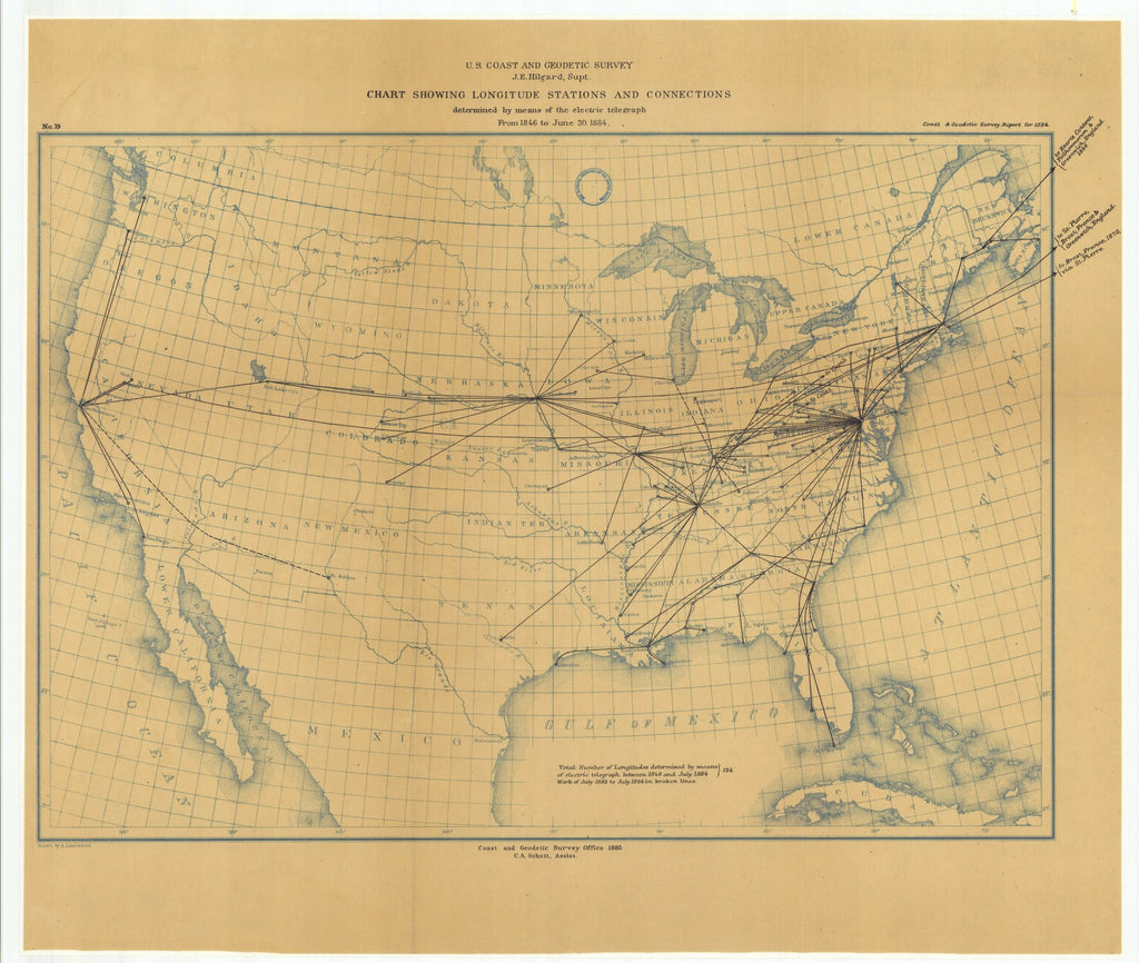 18 x 24 inch 1884 Nevada old nautical map drawing chart of Chart Showing Longitude Stations and Connections Determined by Means of the Electric Telegraph from 1846 to June 30, 1884 From  US Coast & Geodetic Survey x6681