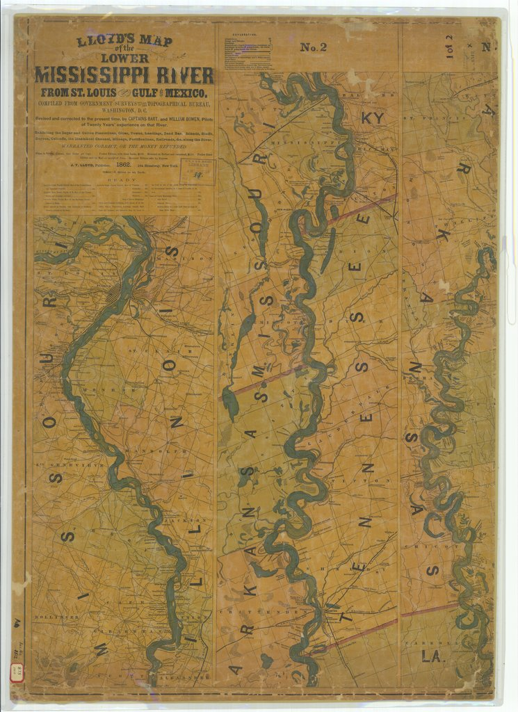 18 x 24 inch 1862 US old nautical map drawing chart of Lloyd's Map of the Lower Mississippi River from Saint Louis to the Gulf of Mexico From  J. T. Lloyd x257