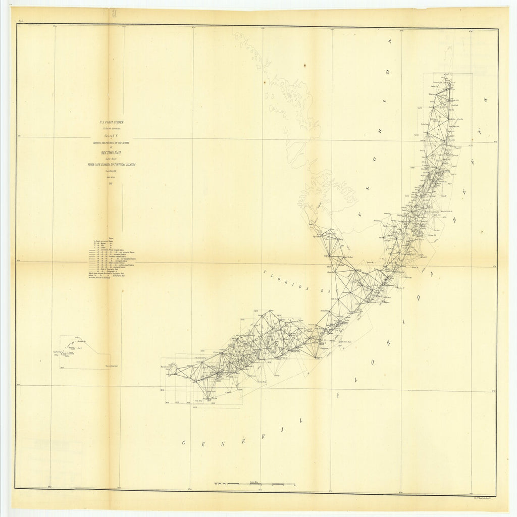 18 x 24 inch 1861 US old nautical map drawing chart of Sketch F Showing the Progress of the Survey in Section Number 6, Lower Sheet from Cape Florida to Tortugas Islands from 1845 to 1861 From  U.S. Coast Survey x2594