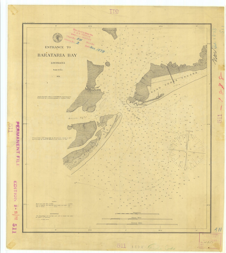 18 x 24 inch 1878 US old nautical map drawing chart of Entrance to Barataria Bay Louisiana From  U.S. Coast Survey x2335