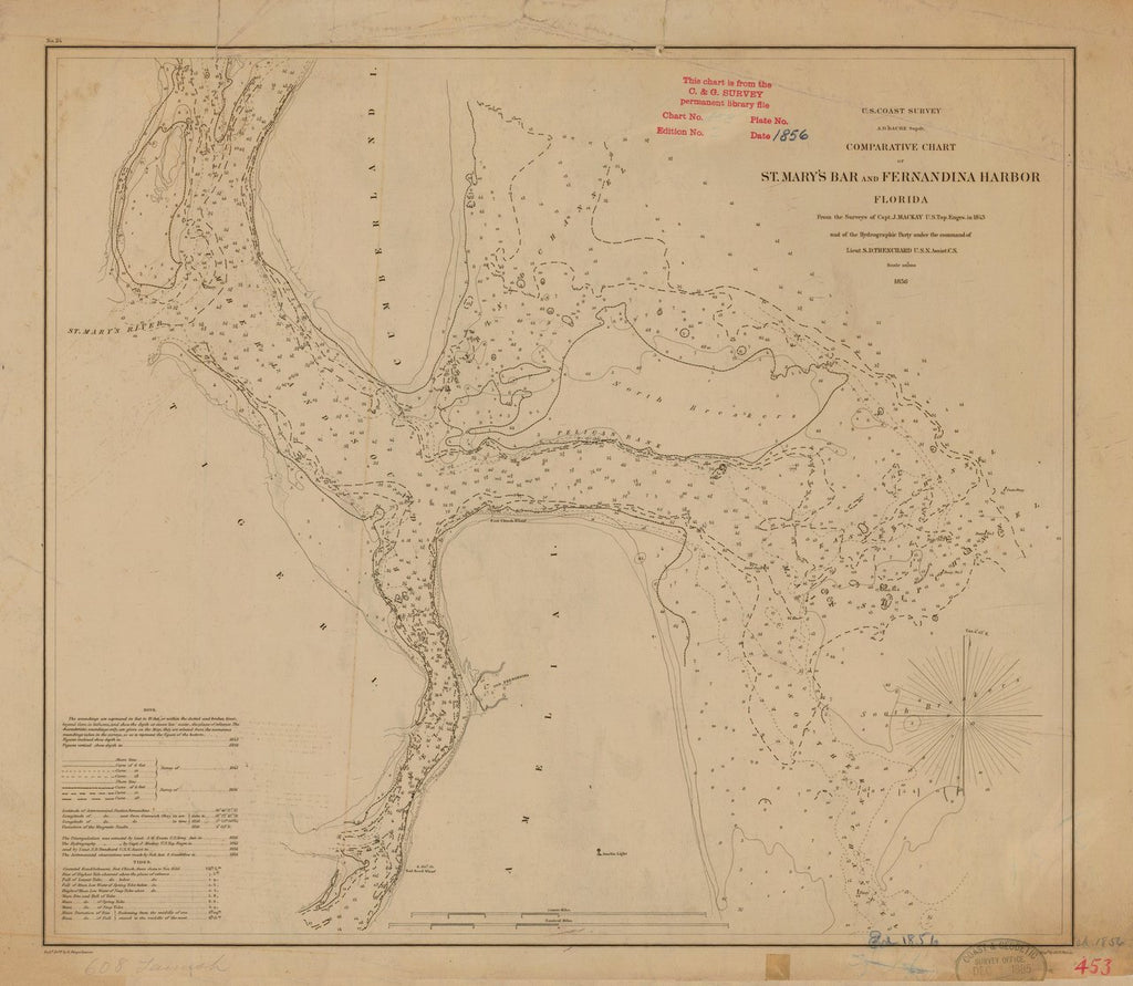 18 x 24 inch 1856 US old nautical map drawing chart of ST. MARY'S BAR AND FERNANDINA HARBOR From  US Coast & Geodetic Survey x767