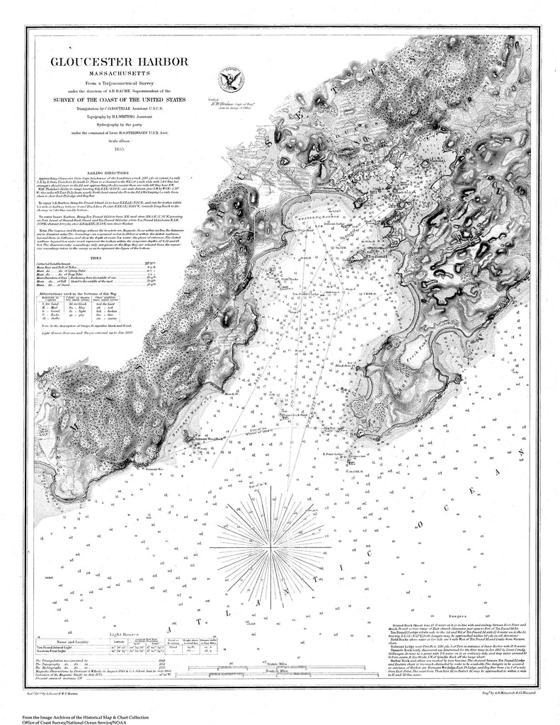 18 x 24 inch 1855 US old nautical map drawing chart of Navigation Chart of Gloucester Harbor in Mass. From  U.S. Coast Survey x2712