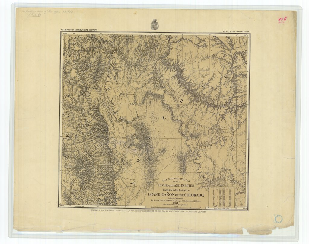 18 x 24 inch 1871 US old nautical map drawing chart of Map Showing Routes of the River and Land Parties Engaged in Exploring the Grand Canyon of the Colorado From  Corps of Engineers x275