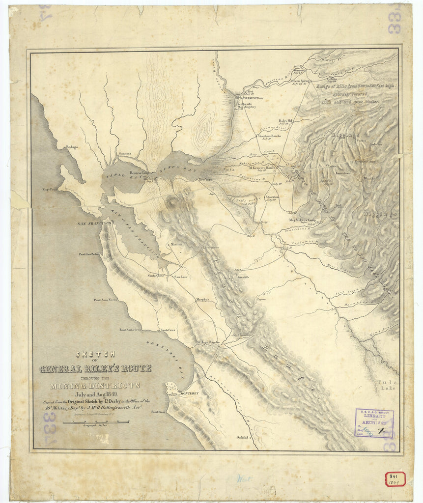 18 x 24 inch 1849 California old nautical map drawing chart of Sketch of General Rileys Route Through the Mining Districts From  Military Dept. x9683