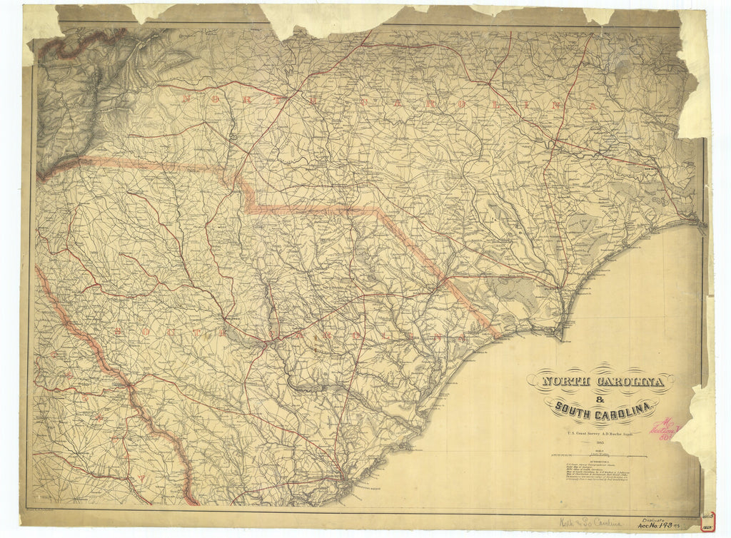 18 x 24 inch 1898 US old nautical map drawing chart of Northern Alabama and Georgia From  U.S. Coast Survey x975