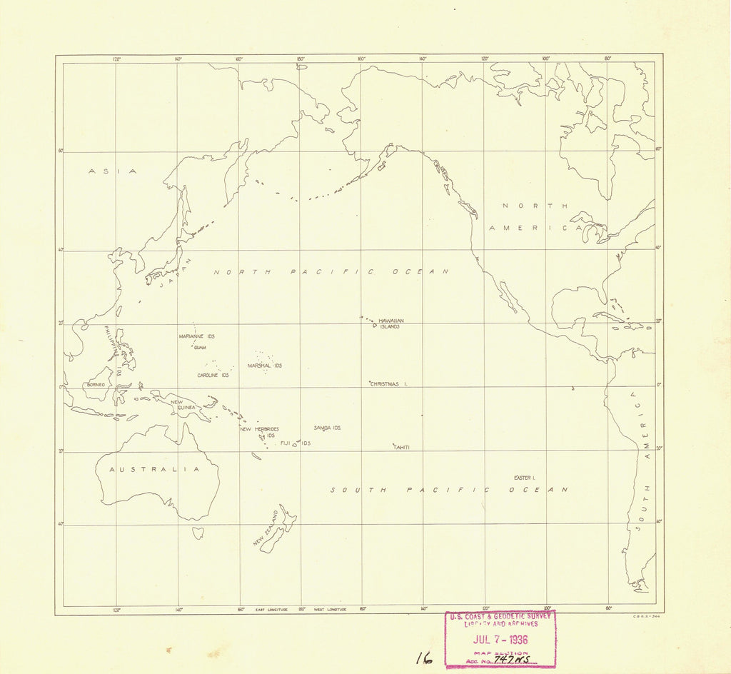 18 x 24 inch 1936 USA old nautical map drawing chart of NORTH AND SOUTH PACICFIC OCEAN AND SURROUNDINGS From  NOAA x12155