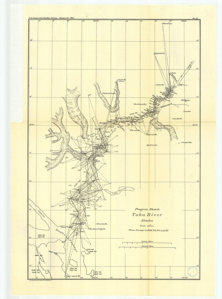 18 x 24 inch 1895 US old nautical map drawing chart of 22. Progress sketch of Taku River, Alaska; scale 1-200 000. From surveys in 1890 and 1893. From  US Coast & Geodetic Survey x2638