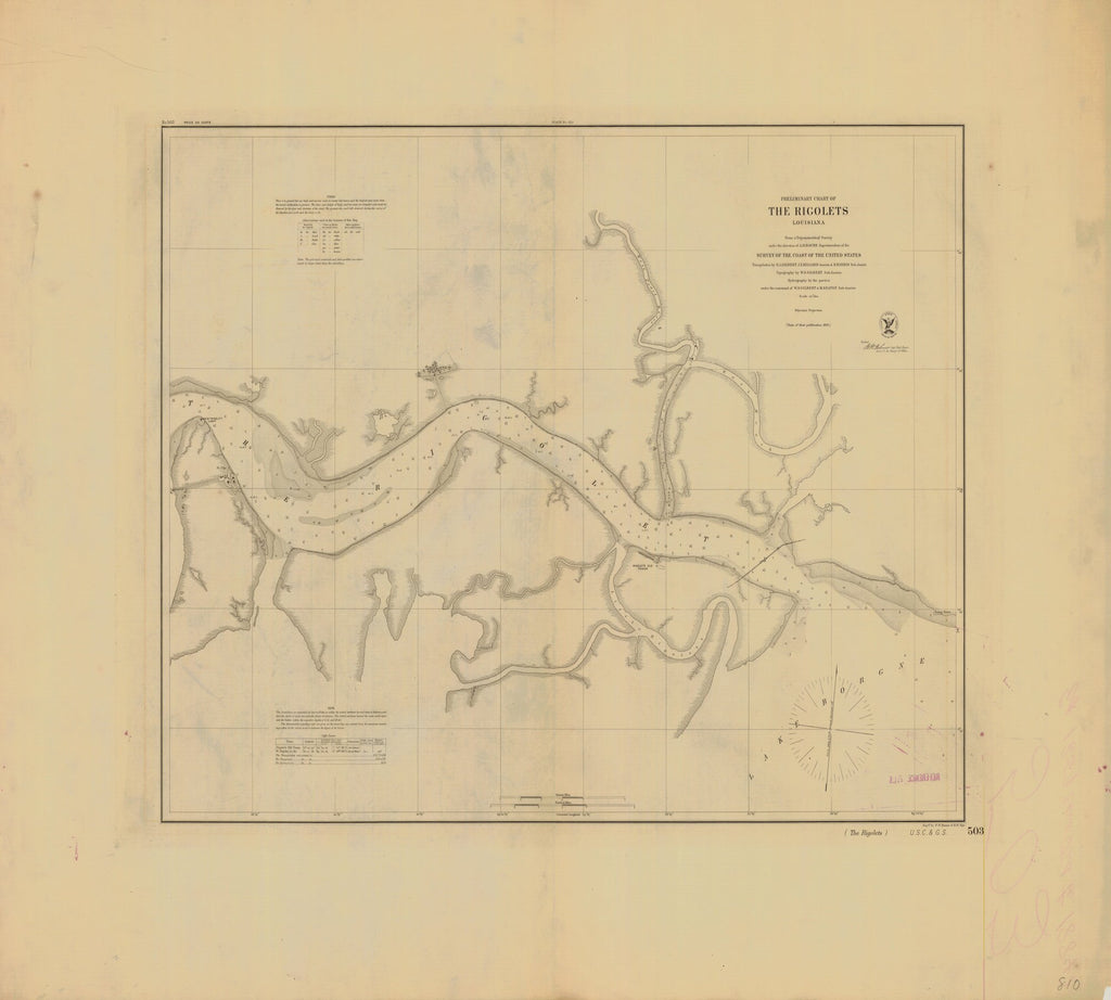 18 x 24 inch 1859 US old nautical map drawing chart of PRELIMINARY CHARTS OF THE RIGOLETS From  U.S. Coast Survey x2021