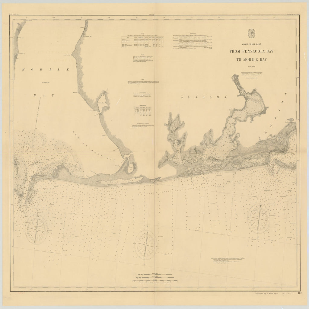 18 x 24 inch 1897 US old nautical map drawing chart of FROM PENSACOLA BAY TO MOBILE BAY From  US Coast & Geodetic Survey x2486